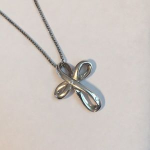 925 Sterling Silver Diamond Accent Cross Necklace